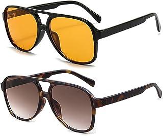 نظارات شمسية افياتور كلاسيكية للنساء والرجال من Laurinny Retro 70s نظارات شمسية بإطار كبير
