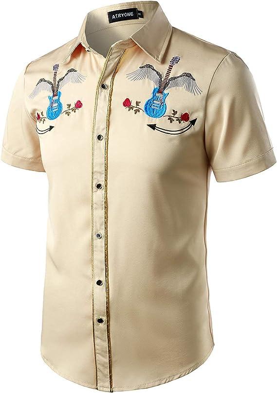 1950s Mens Shirts   Retro Bowling Shirts, Vintage Hawaiian Shirts ATRYONE Mens Western Cowboy Embroidered Shirt Short Sleeve Button Down Shirt  AT vintagedancer.com