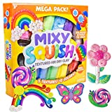 Mixy Squish Deluxe Pack by Horizon Group USA,Includes 20oz. of Textured Air Dry Clay,14 Sculpting Tools & 3 Double Sided Molds.Confetti,Marbled,Crunchy, Star Sparkle Glitter Textures That Dry Squishy