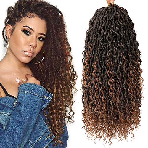 6 Packs Curly Faux Locs Crochet Hair 18 Inch Goddess Locs Crochet Hair Boho Hippie Locs Synthetic Braids Hair Extensions (18inch, T1B/30)