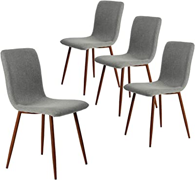 Coavas Set of 4 Kitchen Dining Chairs Fabric Cushion Side Chairs with Sturdy Metal Legs for Home Kitchen Living Room, Grey SCAR-20