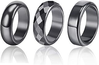 Hematite Magnetic Ring for Women Men Black Hematite Stone Absorbs Negative Energy Root Chakra Ring Gifts for Women Men Unisex