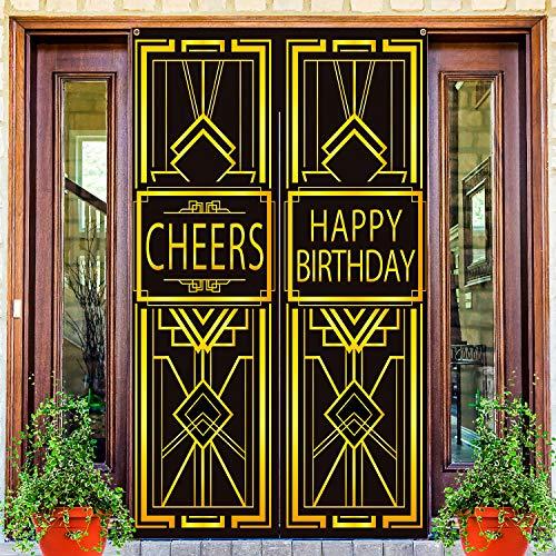 Boao Große 20er Tür Abdeckung Tür Vorhänge Willkommen auf der Party für Prost Geburtstag Dekoration Prost Kostüm Party Geburtstag Wand Hintergrund (Gold Geburtstag)