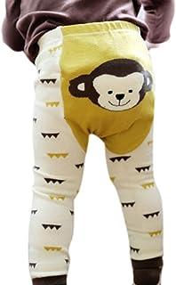 Miyanuby, Pantalón de Entrenamiento de Punto sin pies Elástico de Dibujos Animados para Bebé Niña Niño Recién Nacido Confort Calcetines