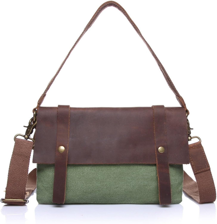 Women's Messenger Bag Vintage Canvas Bag Female Bag Shoulder Bag Slung Canvas with Crazy Horse Bag (color   Green, Size   S)