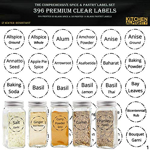 """396 Printed Spice Jars Labels and Pantry Stickers: Clear Round Spices Label 1.5' & Pantry Sticker 3"""" X 1.5"""" With Write-On Labels – Include a Numbered Reference Sheet – Water-Resistant"""