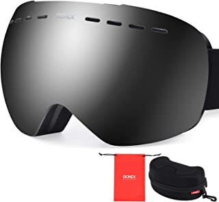 Gonex OTG Ski Goggles, Oversized Snow Snowboard Goggles Anti-Fog UV Protection with Box for Men & Women
