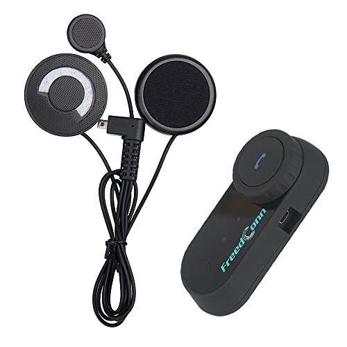 FreedConn 800M T-COMVB Moto Casque Intercom Système de Communication de Moto Bluetooth Casque Interphone avec Soft Cordonné/Câble Microphone pour Moto Ski (Étanche, 2-3Riders Pairing, Noir)