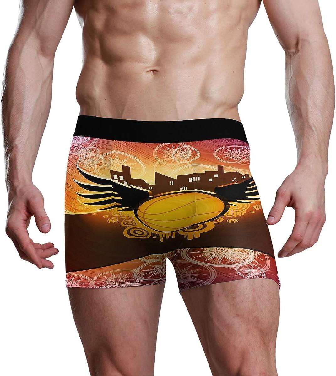 HangWang Mens Boxer Briefs Underwear Cool Basketball with Wings Trunks Underwear Short Leg Boys