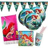 Yisscen Juego de vajilla de cumpleaños, Sirena Decoración de mesa de cumpleaños para ni...