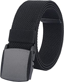 Men's Elastic Stretch Belts, Webbing Canvas Sports Belt for Men Women with Plastic Buckle for Outdoor Work Travel Golf, Ad...