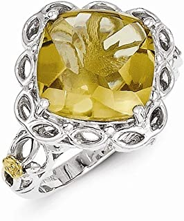 925 Sterling Silver 14k Whiskey Quartz Band Ring Size 8.00 Stone Gemstone Fine Jewelry Gifts For Women For Her