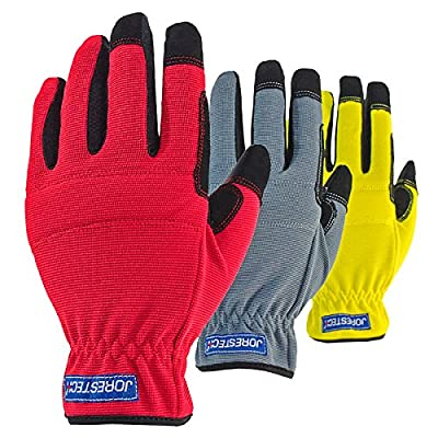 JORESTECH 3 in 1 Pack Touch Screen Technology Multipurpose Work gloves (Extra Large, Yellow/Red/Gray)