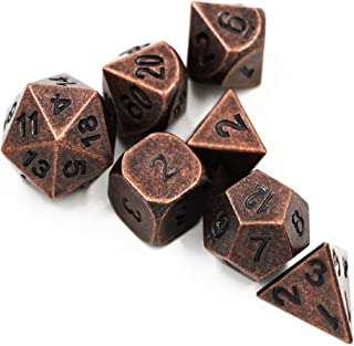 S&P Dungeons & Dragons 7pcs/set Creative Multi-faceted D&D Metal Dice DND Different Red Copper Color