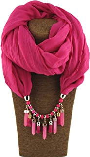 Fashion Cotton and Linen Bib Pendant Scarf Cotton Jewelry Solid Color Scarf Scarves (Color : Bright Red)