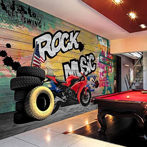 YSJHPC Fototapete Motorrad Motorradclub 3D Effekt Tapete Selbstklebend 3D Wallpaper Moderne Wanddeko Wandbilder Tapete Wohnzimmer Schlafzimmer Büro Flur Dekoration Wandbilder Moderne(B) 250x (H) 175CM