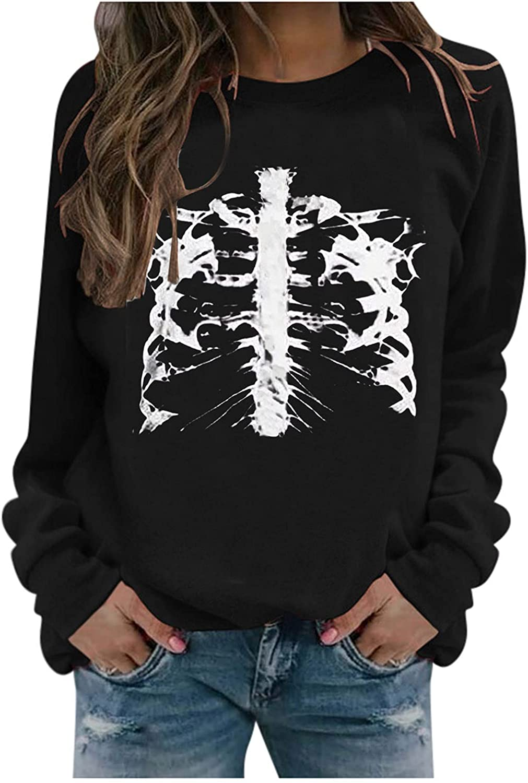 Womens Hoodies, Women Girls Fashion Halloween Printed Long Sleeve Hoodie and Sweatshirt Loose Graphic Pullover Tops