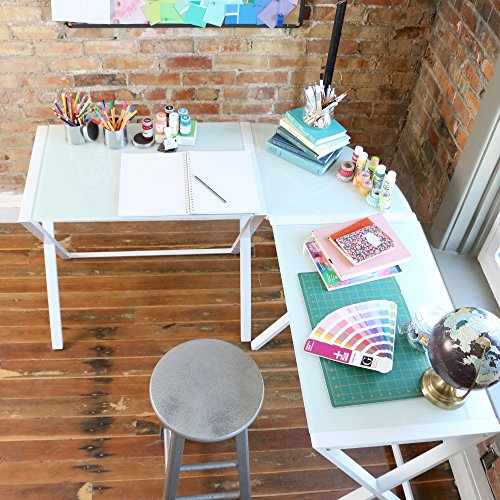 Millie White X-Frame Glass and Metal L-Shaped Computer Desk