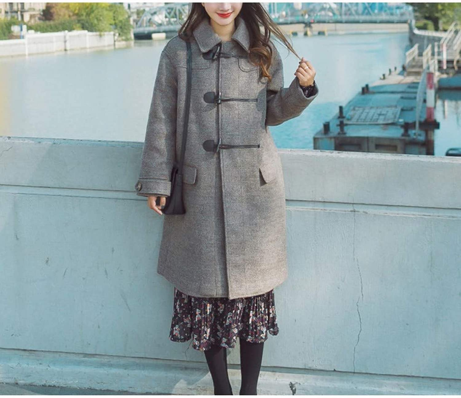 Woolen Coat, Women's Autumn and Winter Korean Student Coat Jacket, Medium and Long DoubleFaced Velvet Woolen Coat XQY