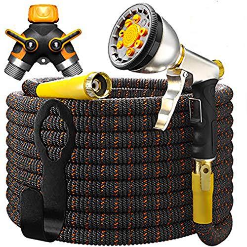 TBI Pro Garden Hose Expandable - Superior Strength 3750D / 4-Layers Latex/Extra-Strong Brass Connectors / 10-Way Durable Zinc Water Spray Nozzle, 2-Way Pocket Flexible Splitter (100 Feet)