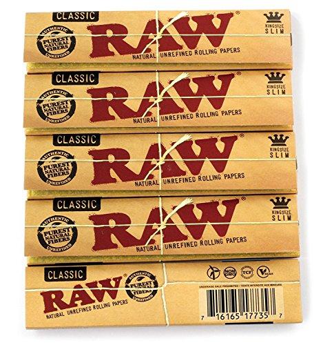 RAW Classic King Size Paper-Lote de 5 Cuadernos de Papel, Amarillo, pequeño