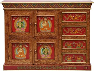 JAE Wooden Hand Painted Cabinet | Wooden Chest of Drawer | Two Door and Four Drawers | Traditional Cabinet for Home