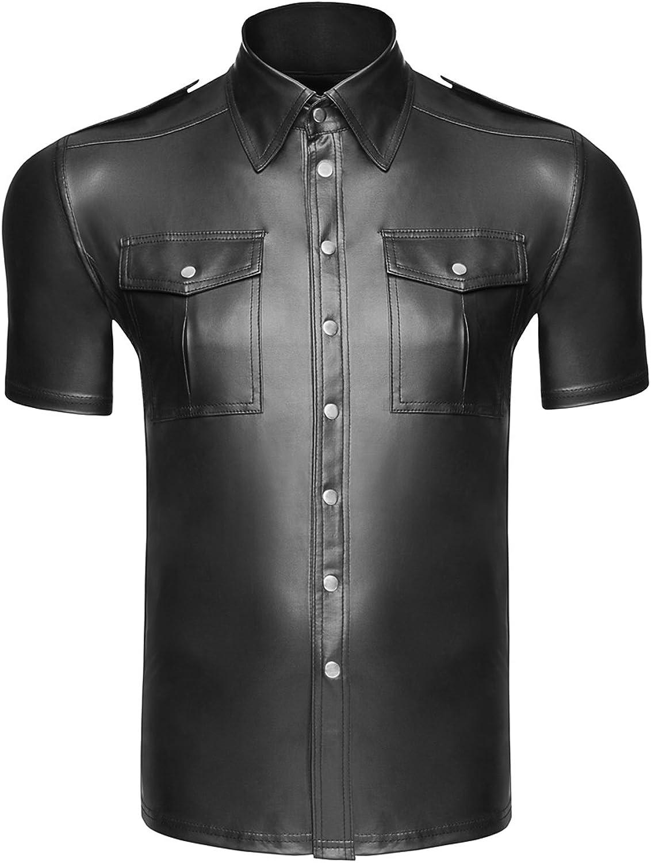 Camisa para hombre de aspecto mojado, brillante, elástica, con botones y bolsillos