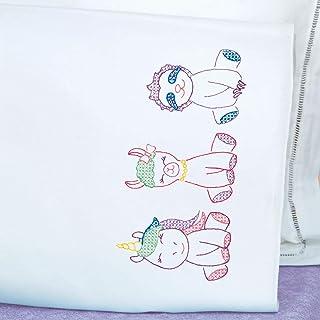 Jack Dempsey 针画 1605883 小动物刺绣枕套 白色