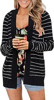 Women's Long Sleeve Striped Cardigans Open Front Knit Fall Sweater Outwears