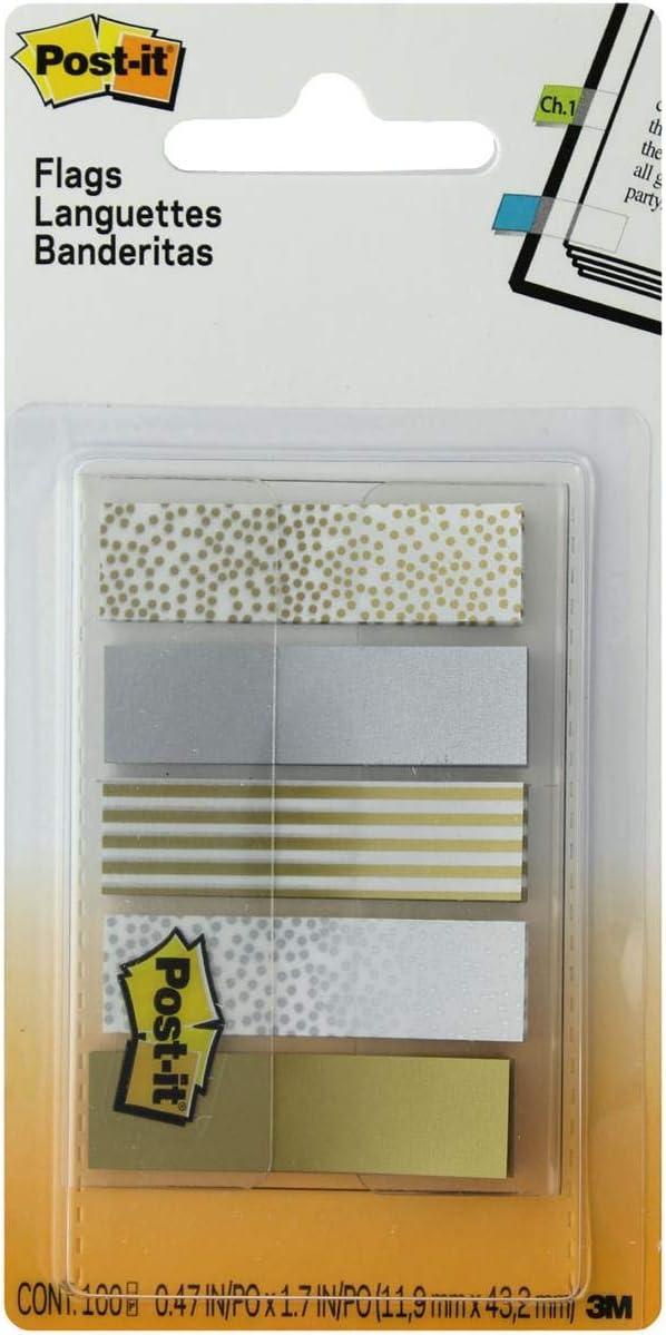 Post-it Flags, Metal Color, .47 In x 1.7 In, 100 Flags Per Dispenser (684-METAL),Assorted Metallic Designs