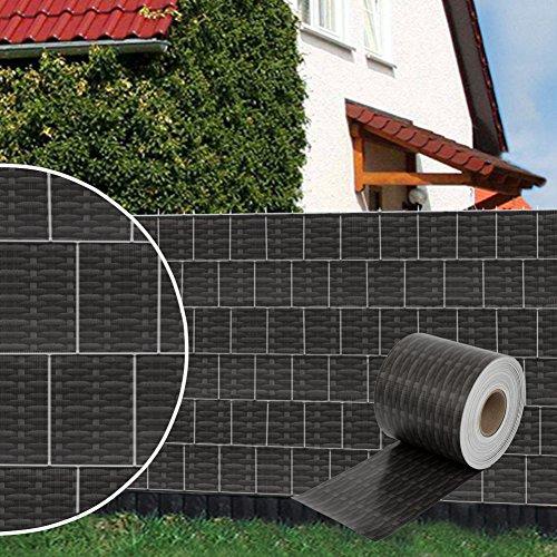 Dazone PVC Sichtschutzstreifen (70 m x 19 cm)- Rattan-Anthrazit Zaunfolie Windschutz Extra dick mit 30 x Befestigungsclips