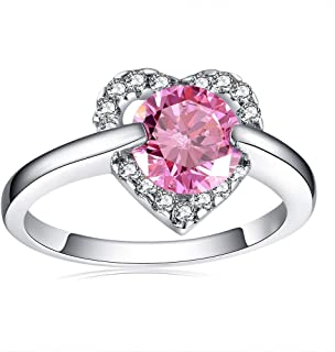 HYLJZ Anello Fashion Heart Rings for Women 2 Colors Round AAA Cubic Zirconia Jewelery