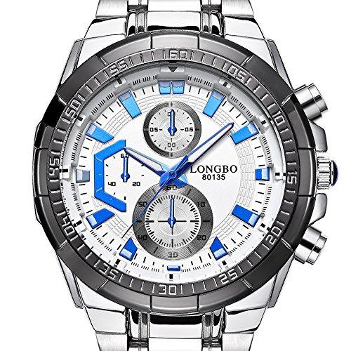 iWatch Herren-Armbanduhr Sportuhr Analog Quarz 3ATM wasserdicht LED Licht Edelstahl Silber Elegant Business mit Weiß Zifferblatt