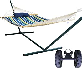 PG PRIME GARDEN 2 Person Freestanding Hammock with Portable Steel Stand and Pulley, 450 Pound Capacity, Indoor or Outdoor Use, Pad and Pillow Included