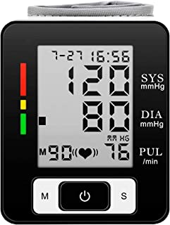 Digital Wrist Blood Pressure Monitor Automatic Heart Rate Detection Heartbeat BP Monitor Large LCD Display Portable Case for Home Use