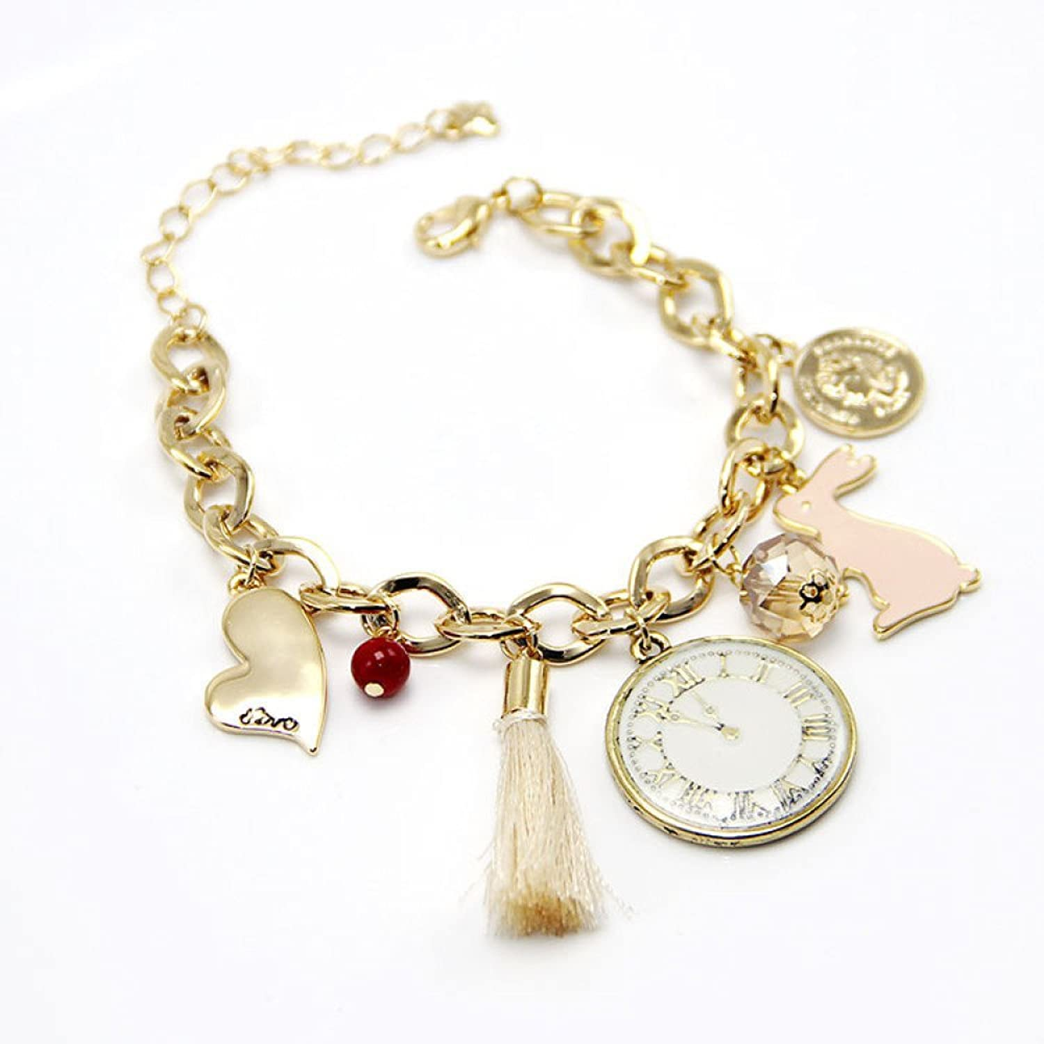 Zicue Stylish Charming Bracelet Exquisite Ornaments Pink Rabbit Tassel Watch Pendant Chain Bracelet