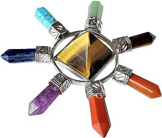 Loveliome Tiger's Eye Pyramid 4 Point Energy Generator,4 Point Healing Chakra Crystal Stone