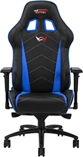 GT OMEGA PRO XL Racing Gaming Chair with Lumbar Support - Ergonomic PVC Leather Office Chair with 4D Adjustable Armrest & Recliner - Esport Seat for Ultimate Gaming Experience - Black Next Blue