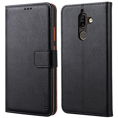 Peakally Cover per Nokia 7 Plus, Flip Caso in PU Pelle Premium Portafoglio Custodia per Nokia 7 Plus, [Kickstand] [Slot per Schede] [Chiusura Magnetica]-Nero
