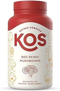 KOS Organic Red Reishi Mushroom Capsules 1500mg - Pure Ganoderma Lucidum (10:1 Reishi Extract) - Immune System Support, Mo...