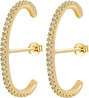 Unique Gold Hoop Earrings for Women 14K Gold Plated Cubic Zirconia Cuff Earrings Stud Stacking Earring