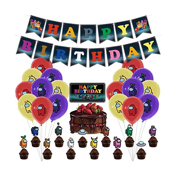 Among Us Birthday Decorations, Among Us Party Supplies, (32 Piece) of Game Themed...