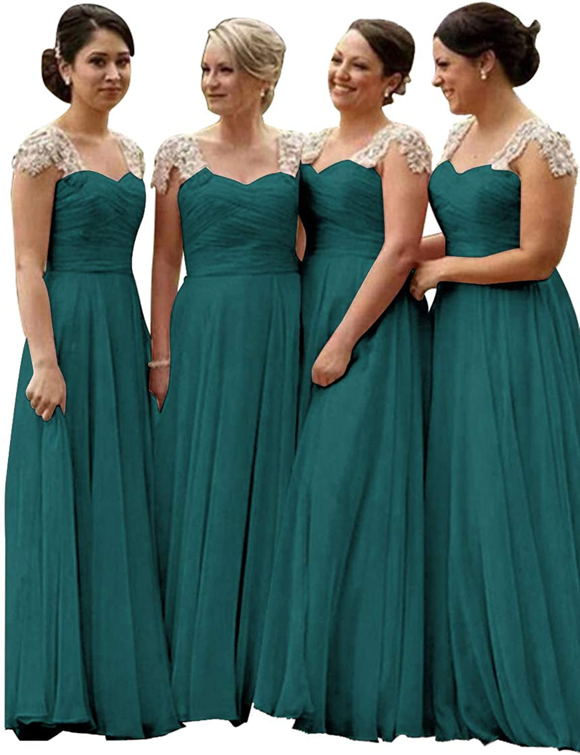 Staypretty Cap Sleeve Bridesmaid Dresses Long ALine 2019 Lace Evening Wedding Party Gowns