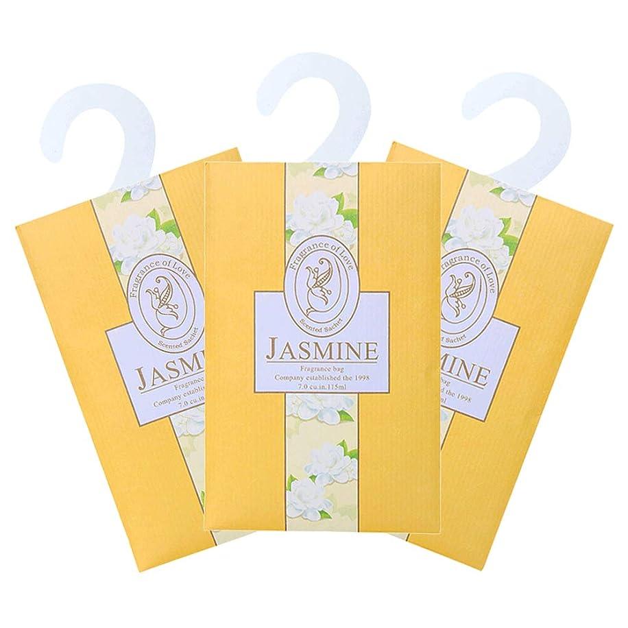 気がついてひばり取るTINKSKY 香り袋 サシェ 3枚セット 花の香り ルームフレグランス 車内用 玄関用 部屋用 芳香剤(ジャスミン)