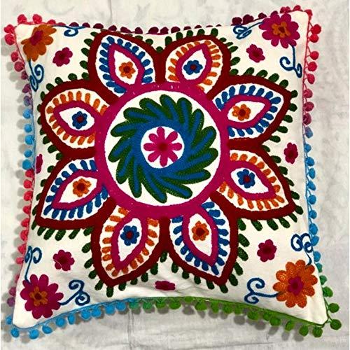 Ganesham Handicraft Kissenbezug, indisches Design, Heimdekoration, florales Muster, aus Baumwolle, dekorativ, Bohemian-Stil, Überwurf, handbestickter Suzani-Stoff, für das Sofa, 40,6 x 40,6 cm