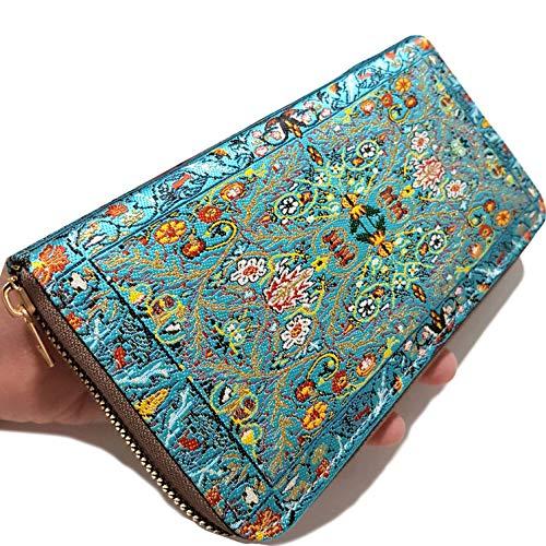 Billetera turca para Mujer con diseño de Alfombra Fina con Cremallera Grande...