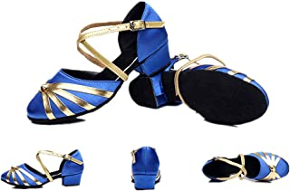 lcky Women's Latin Dance Shoes Casual Low Heel Sandals Dancing Shoes