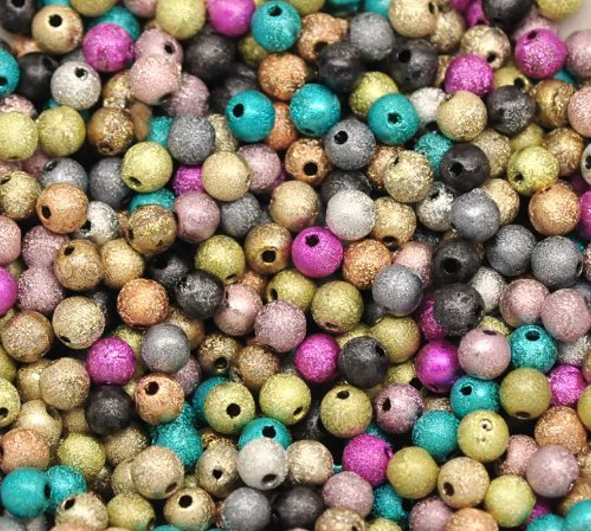 PEPPERLONELY 500PC Mixed Stardust Acrylic Spacer Beads 6mm(1/4