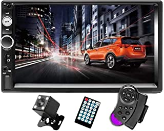 "CAMECHO 7"" Double Din Car Stereo Audio Bluetooth MP5 Player USB FM Multimedia Radio+ 4 LED Mini Backup Camera with Steering Wheel Remote Support Mobile Phone Synchronization (Used in Android /iOS)"