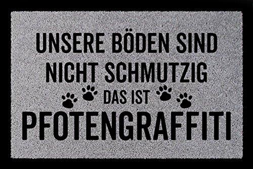 Interluxe SCHMUTZMATTE Fußmatte PFOTENGRAFFITI Hund Tierisch Türmatte Geschenk Einzug Hellgrau